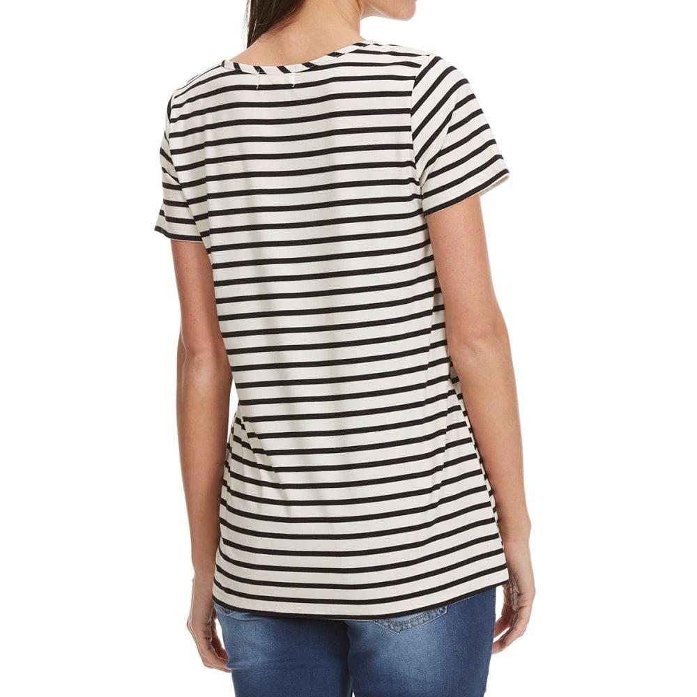 THYME & HONEY Women's X-Front Striped Short-Sleeve Tee - EGGWHITE BLACK STRIP