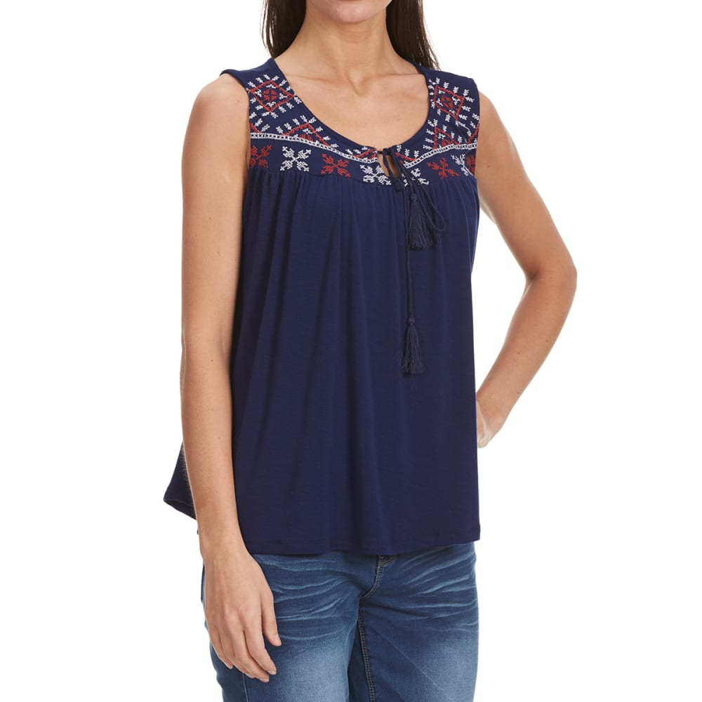 THYME & HONEY Juniors' Embroidered Yoke Tank - NEW NAVY