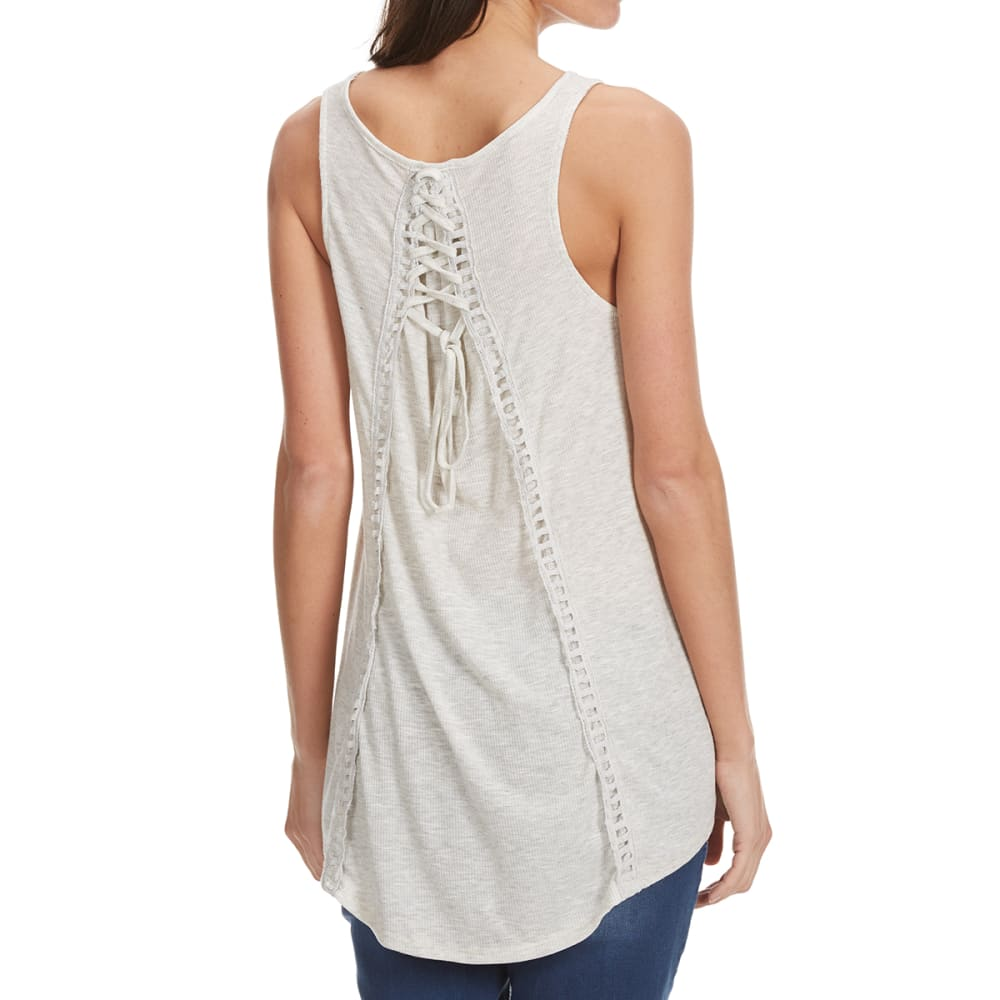 THYME & HONEY Women's Lace Up Back Tank - LIGHT HEATHER