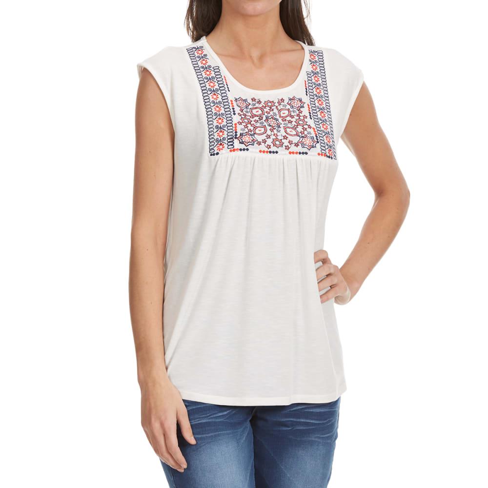 THYME & HONEY Women's Embroidered Sleeveless Top - EGGWHITE