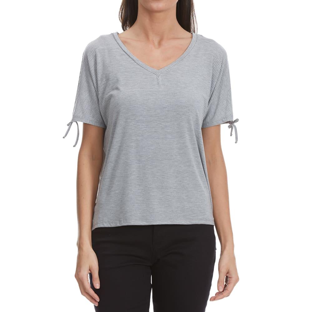 THYME & HONEY Women's Short Sleeve Striped Tie Shirt - HEATHER GREY