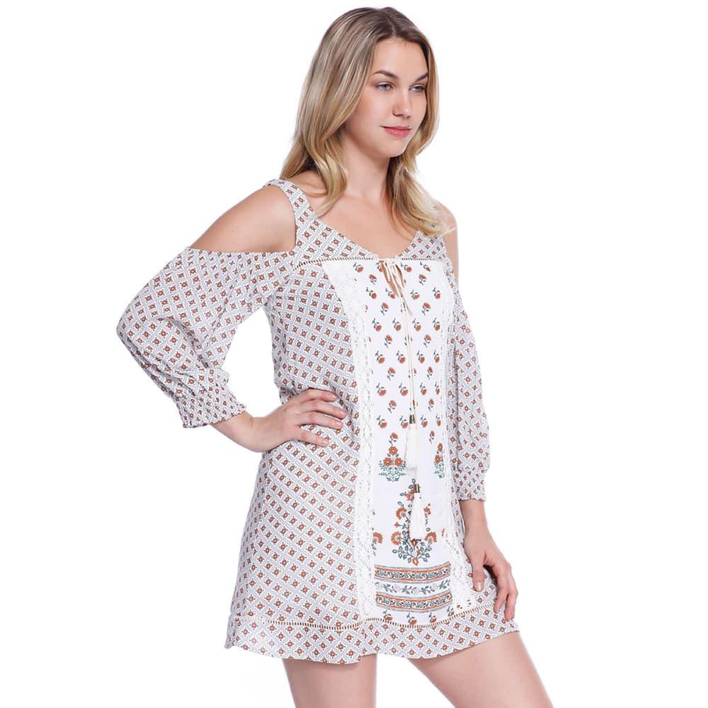 TAYLOR & SAGE Juniors' Cold Shoulder Boho Dress - NAT-NATURAL
