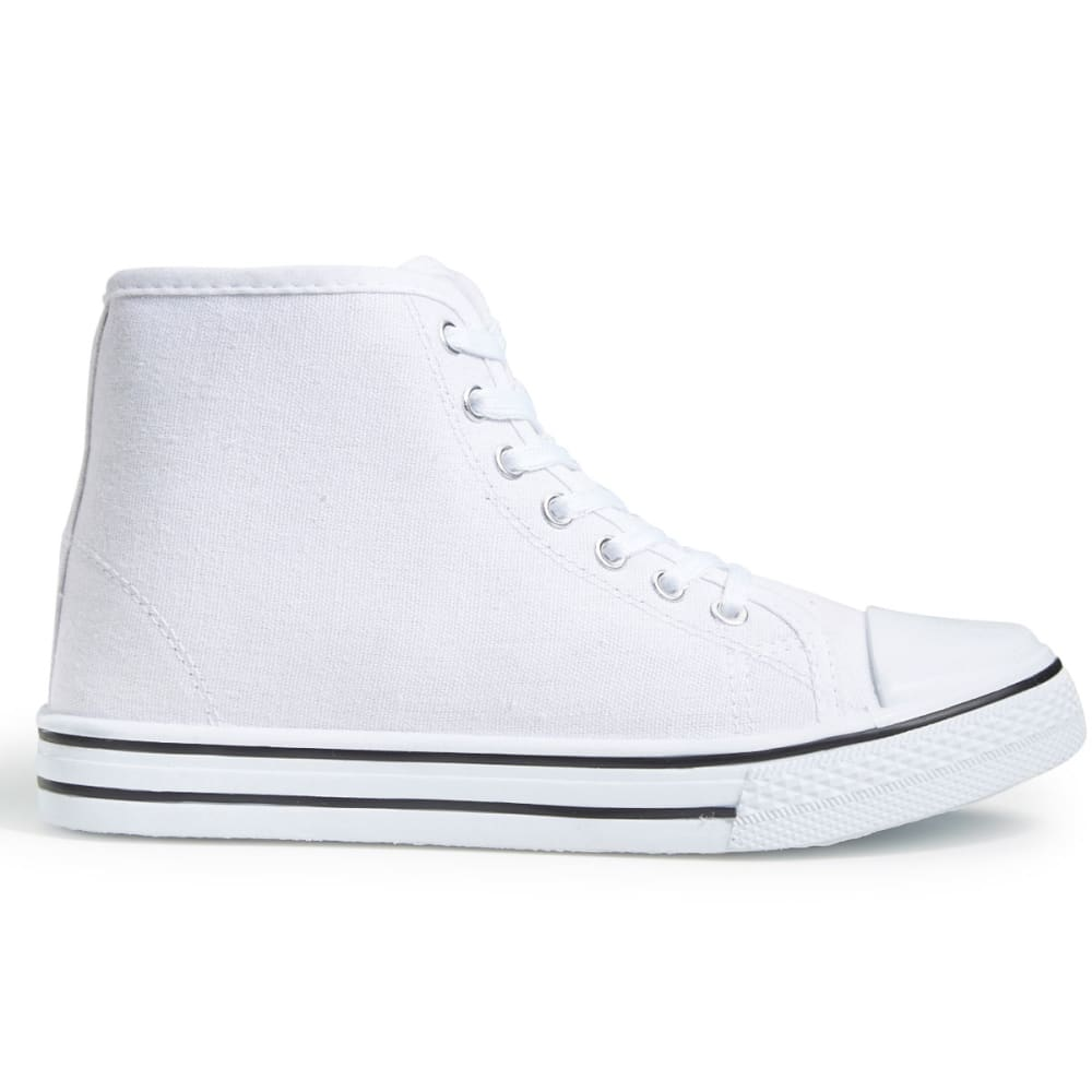 OLIVIA MILLER Women's Lace-Up High-Top Sneakers, White - WHITE