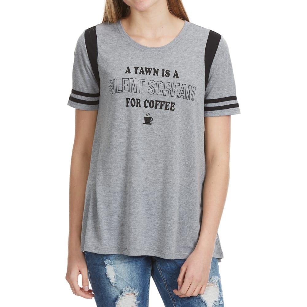 HYBRID Juniors' A Yawn Is a Silent Scream For Coffee Tee - HEATHER GREY/BLACK