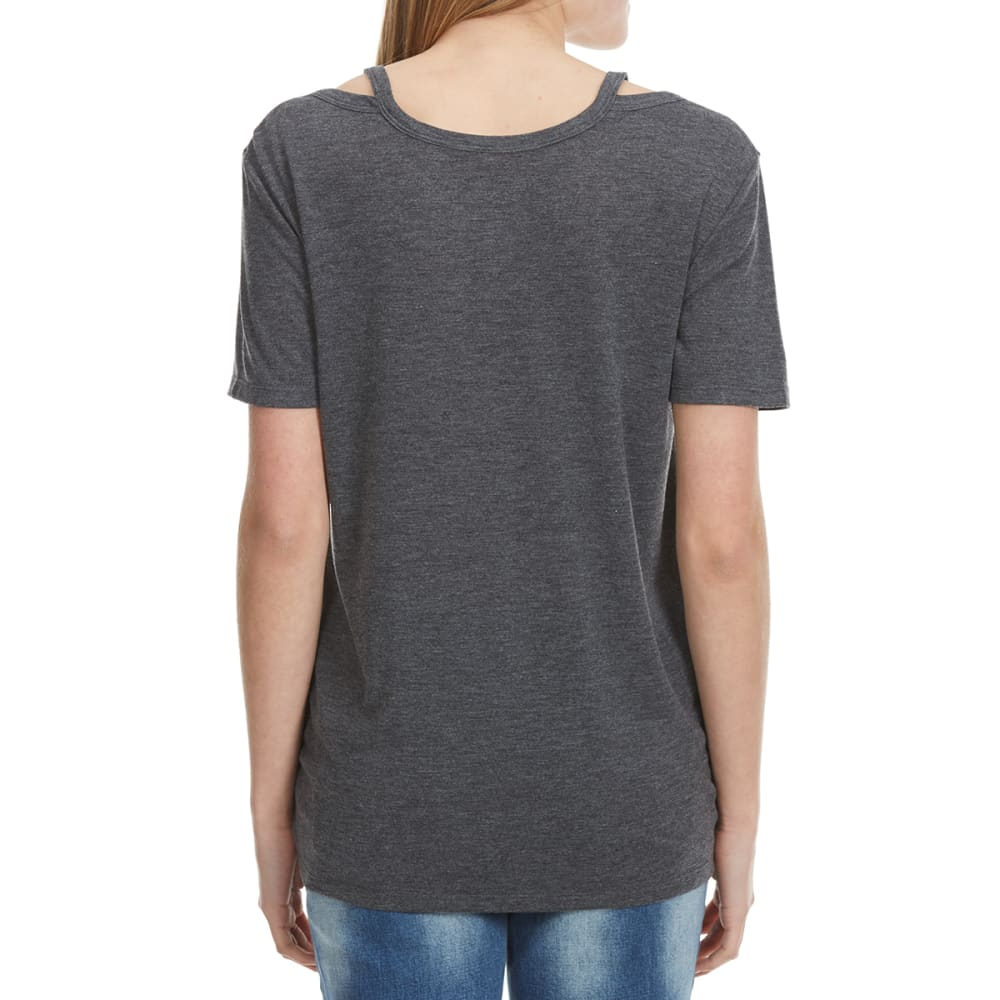 HYBRID Juniors' Sweat Life Off The Shoulder Top - HEATHER CHARCOAL