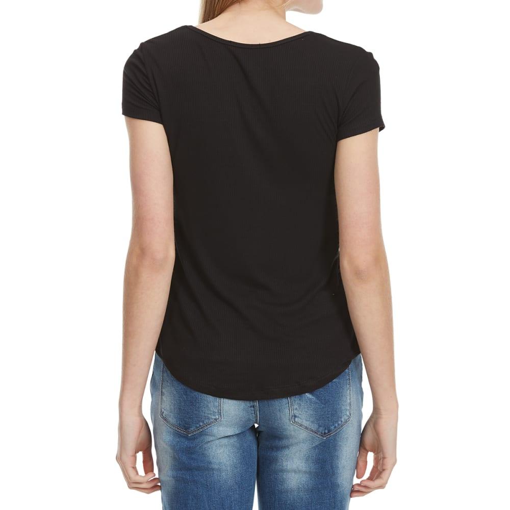 AMBIANCE Juniors' Round Neck Short-Sleeve Tee with Shirttail - BLACK