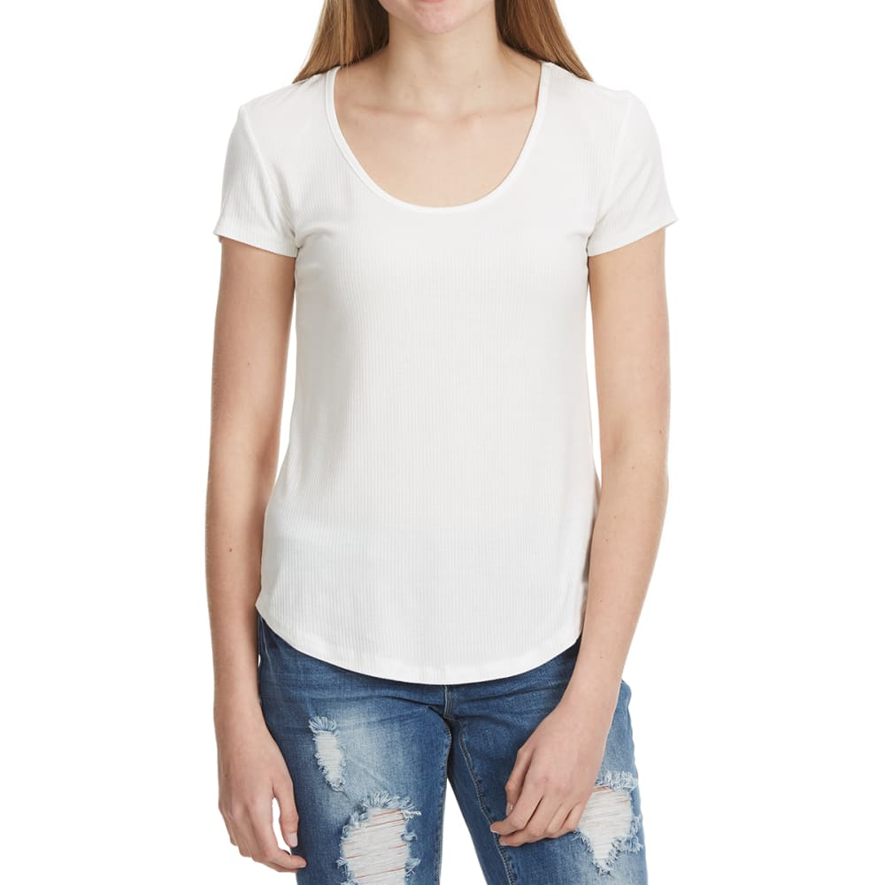 AMBIANCE Juniors' Round Neck Short-Sleeve Tee with Shirttail - OFFWHITE