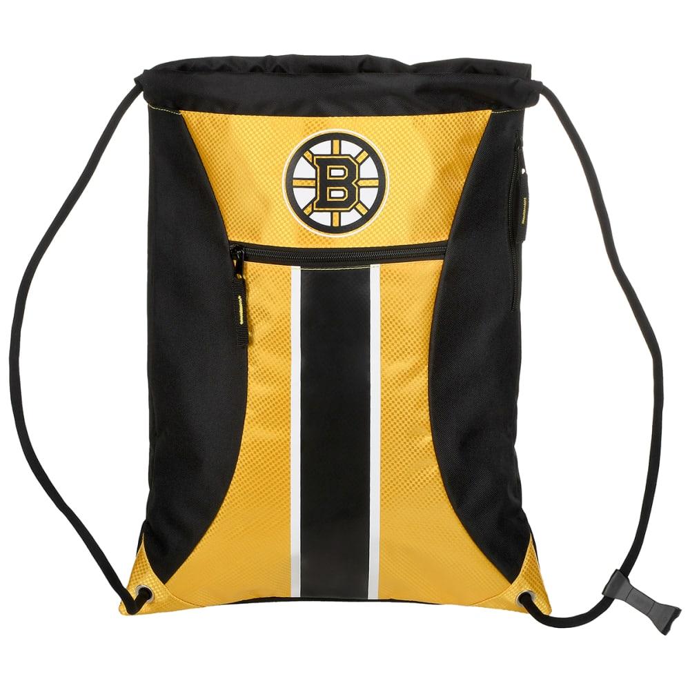 BOSTON BRUINS Stripe Zipper Drawstring Backpack - BLACK