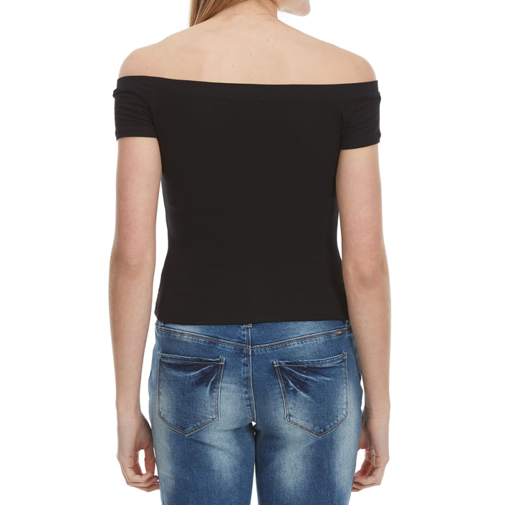 AMBIANCE Off The Shoulder Fitted Top - BLACK