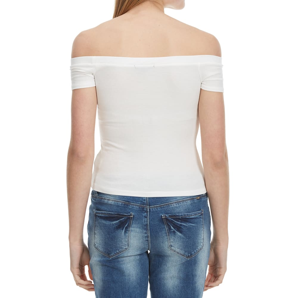 AMBIANCE Off The Shoulder Fitted Top - OFFWHITE