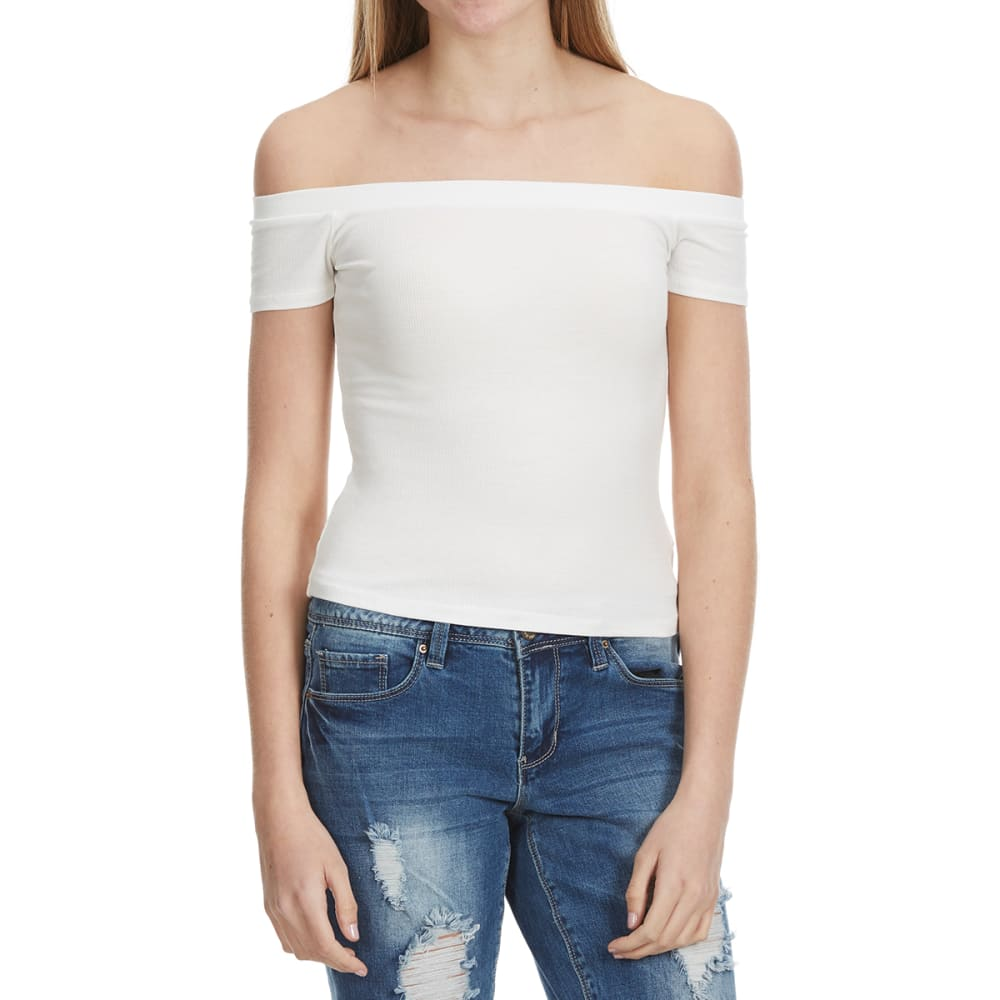 Ambiance Off The Shoulder Fitted Top - White, L