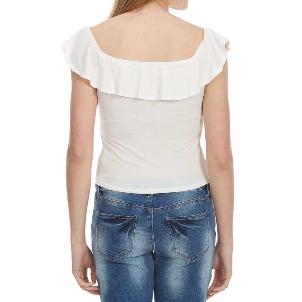 AMBIANCE Juniors' Ruffled Off The Shoulder Top - OFFWHITE