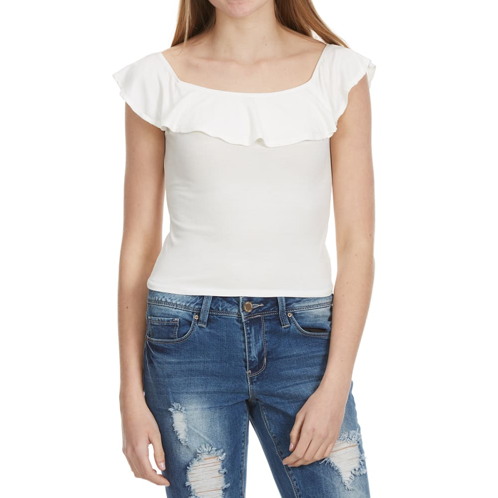 Ambiance Juniors Ruffled Off The Shoulder Top - White, M