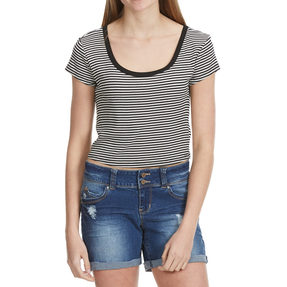AMBIANCE Juniors' Short Sleeve Striped Crop Top - BLACK/WHITE