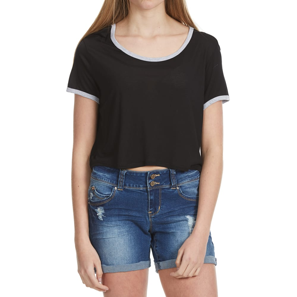 AMBIANCE Juniors' Short-Sleeve Crop Top with Contrast Trim - BLACK/HTHR GRY