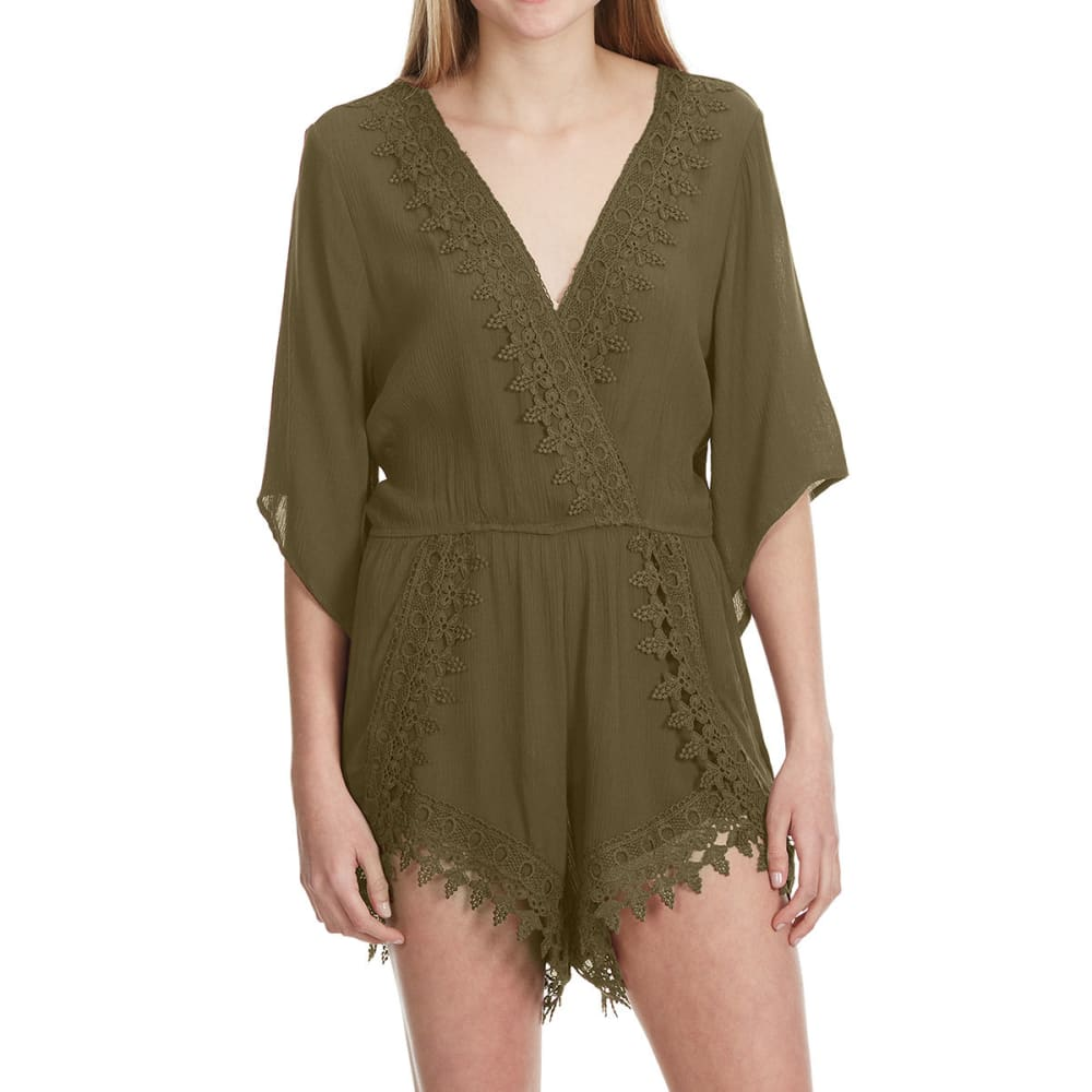 Ambiance Juniors  3/4 Sleeve Crochet Trim Romper - Green, M