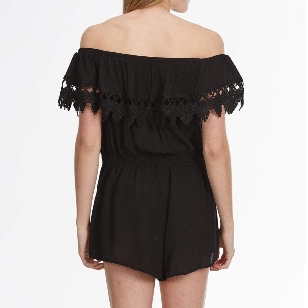 AMBIANCE Juniors' Ruffle Off the Shoulder Romper - BLACK