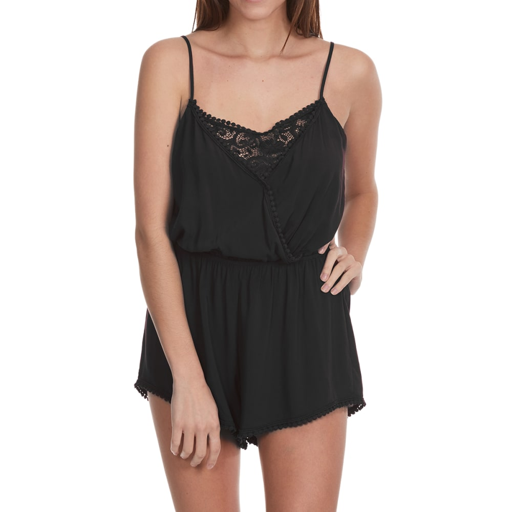 AMBIANCE APPAREL Juniors' Contrast Lace Insert Romper with Crochet Trim - BLACK