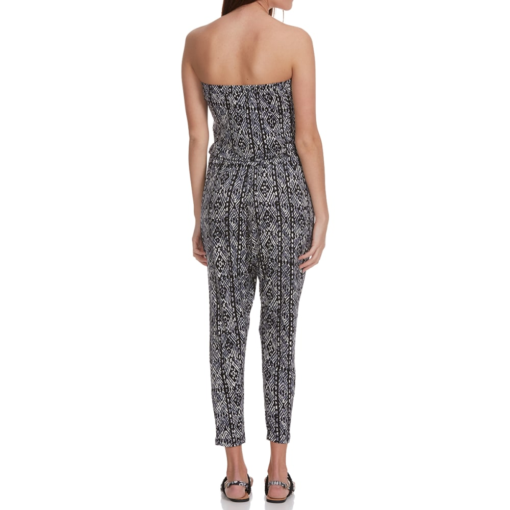 AMBIANCE APPAREL Juniors' Printed Tube Top Jumpsuit - BLACK