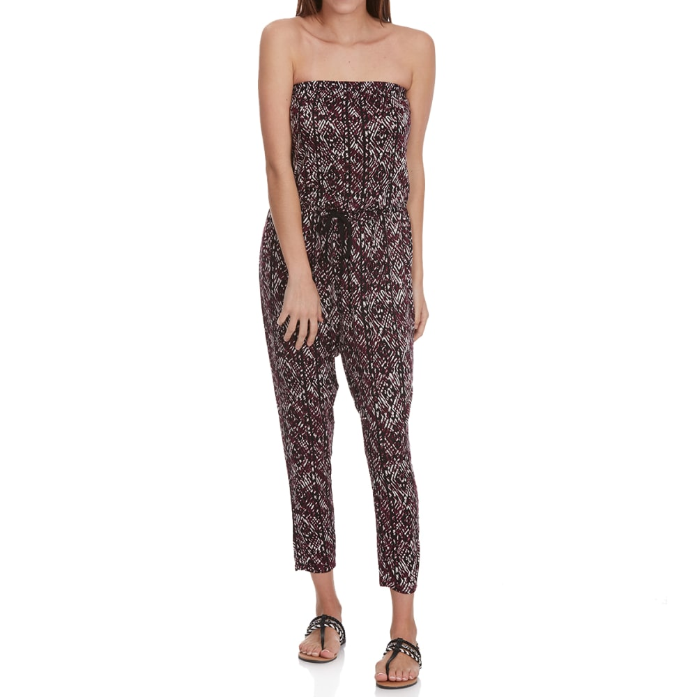 AMBIANCE APPAREL Juniors' Printed Tube Top Jumpsuit - BURGUNDY