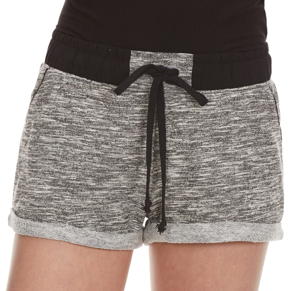 AMBIANCE APPAREL Juniors' French Terry Shorts with Contrast Waistband - BLACK/WHITE