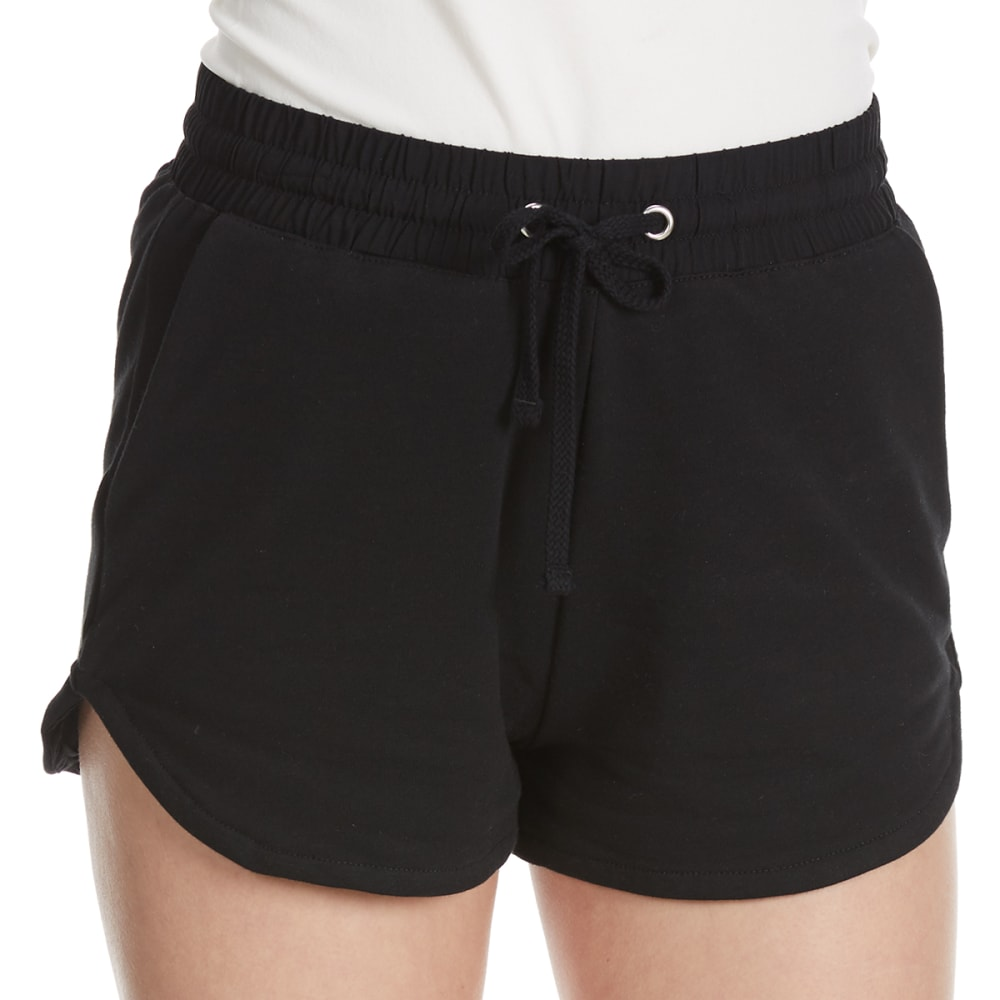 AMBIANCE Juniors' High-Waist Knit Shorts - BLACK