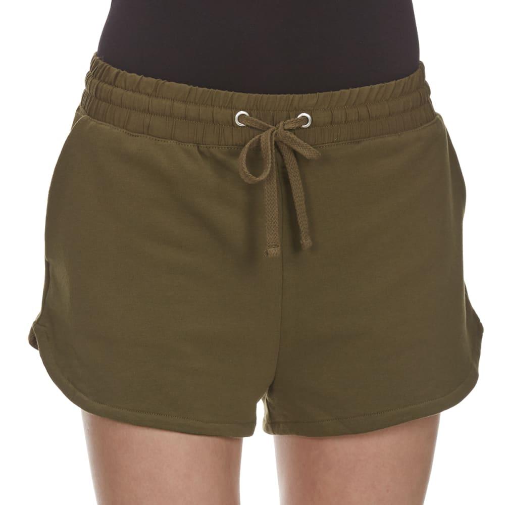 AMBIANCE Juniors' High-Waist Knit Shorts - OLIVE