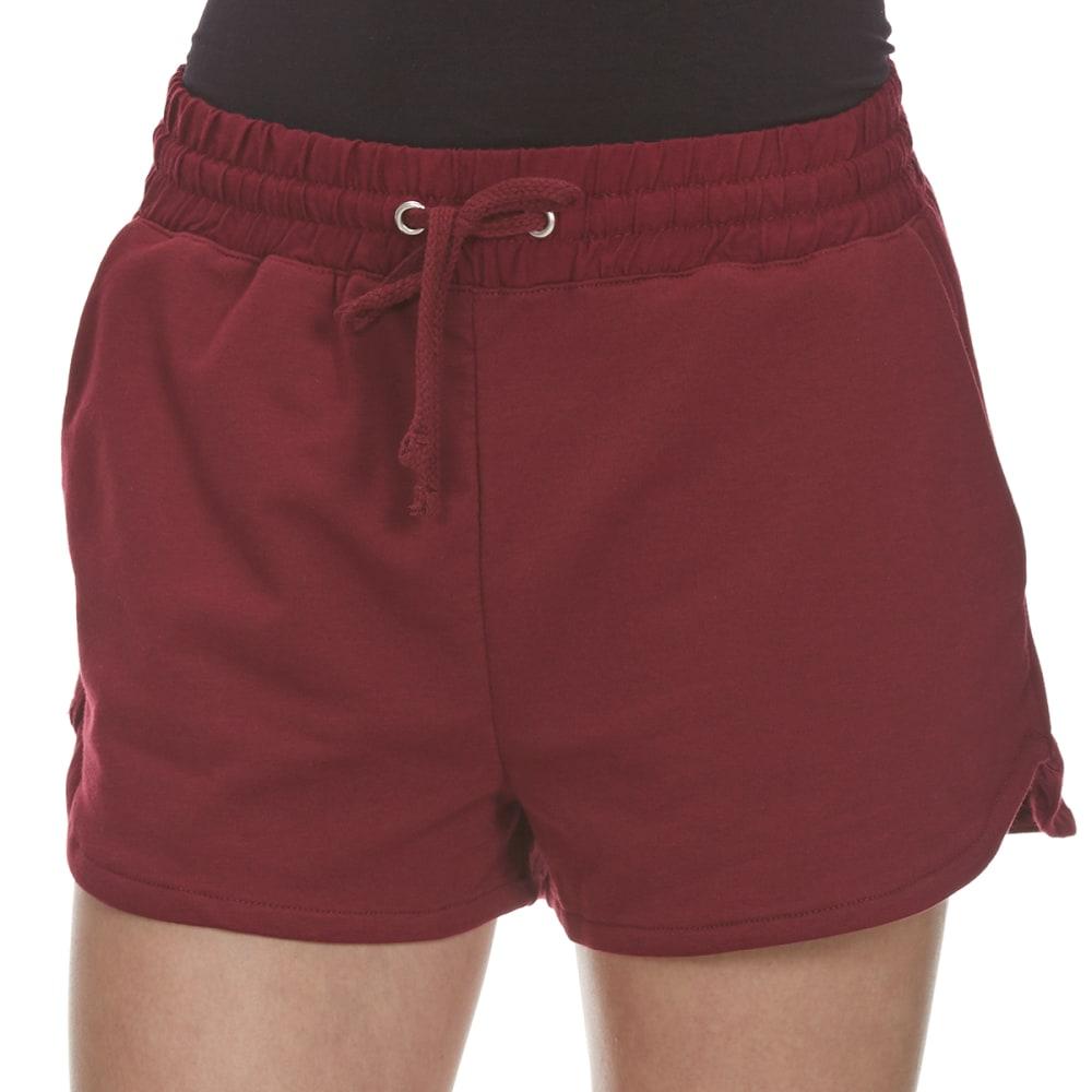 AMBIANCE Juniors' High-Waist Knit Shorts - BURGUNDY