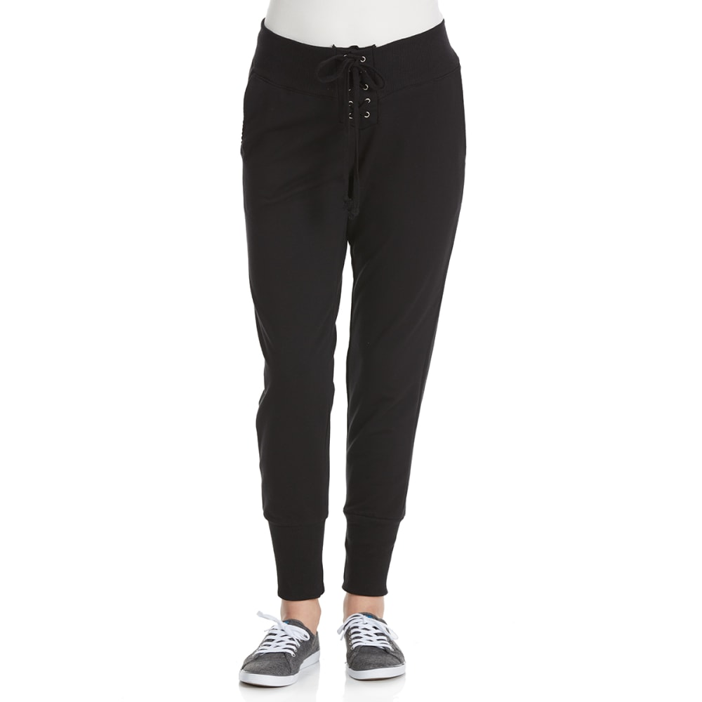 AMBIANCE Juniors' Lace Up Front Jogger Pants - BLACK