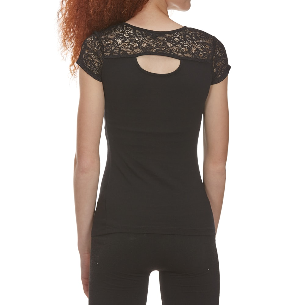 AMBIANCE Juniors' Short Sleeve Lace Contrast Top - BLACK