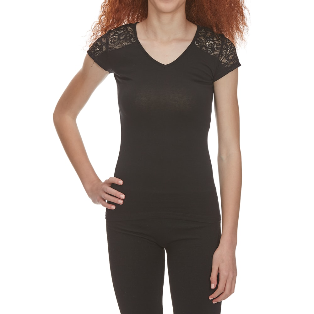 Ambiance Juniors Short Sleeve Lace Contrast Top - Black, S