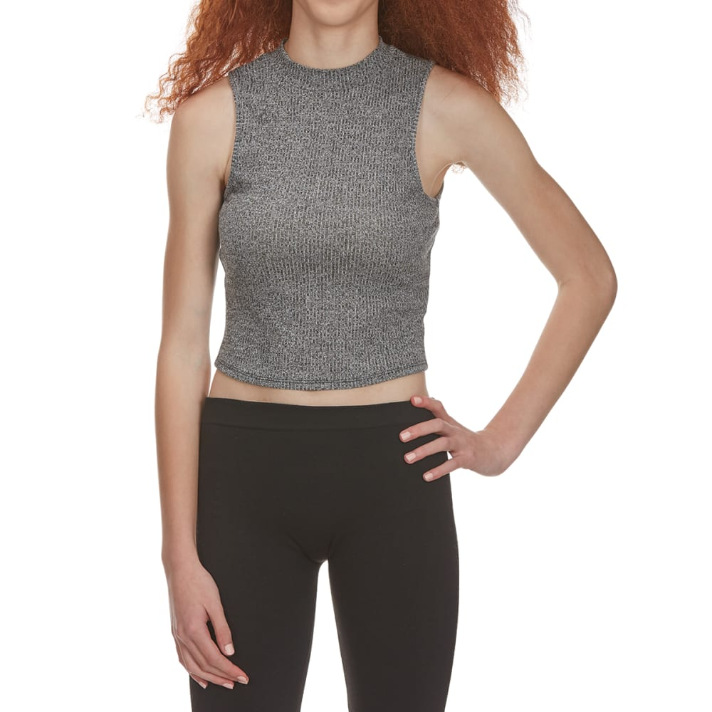 AMBIANCE Juniors' Zippered Back Mock Neck Crop Top - BLACK