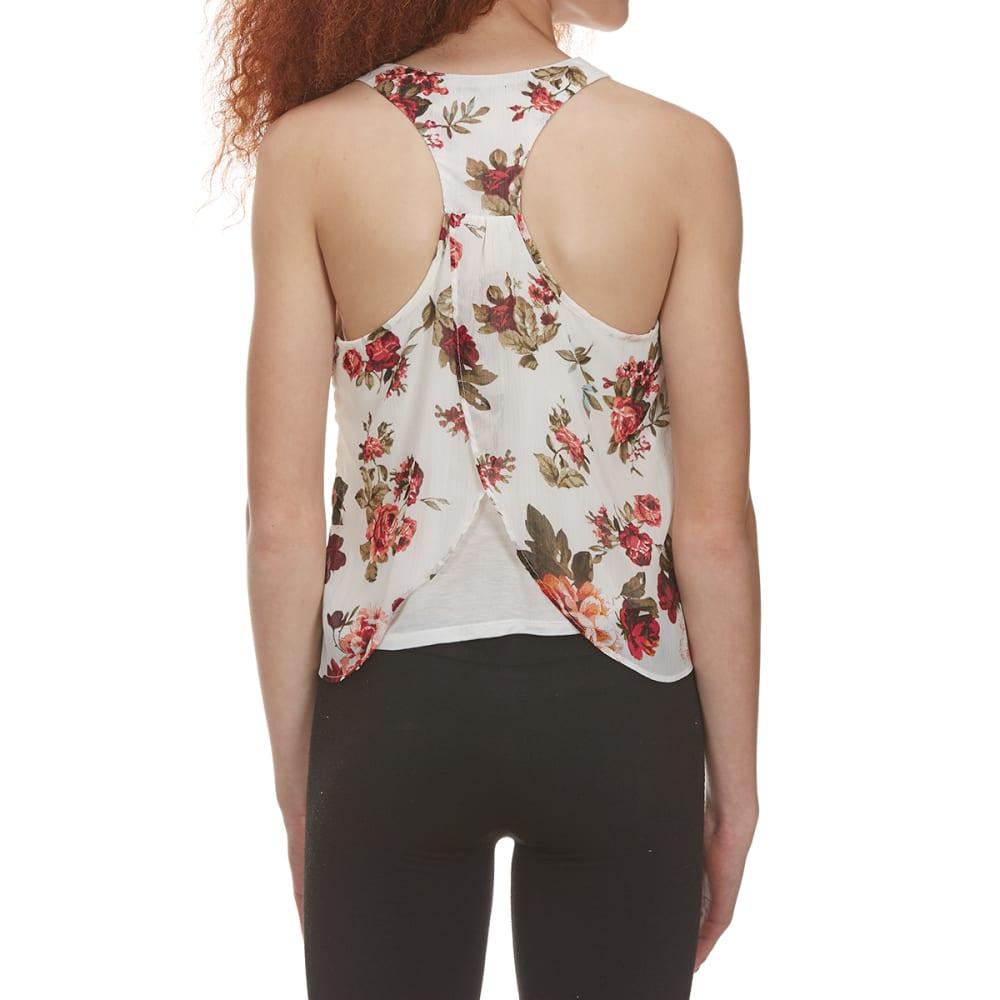 AMBIANCE Juniors' Floral Print Tulip Back Chiffon Tank - NEW IVORY