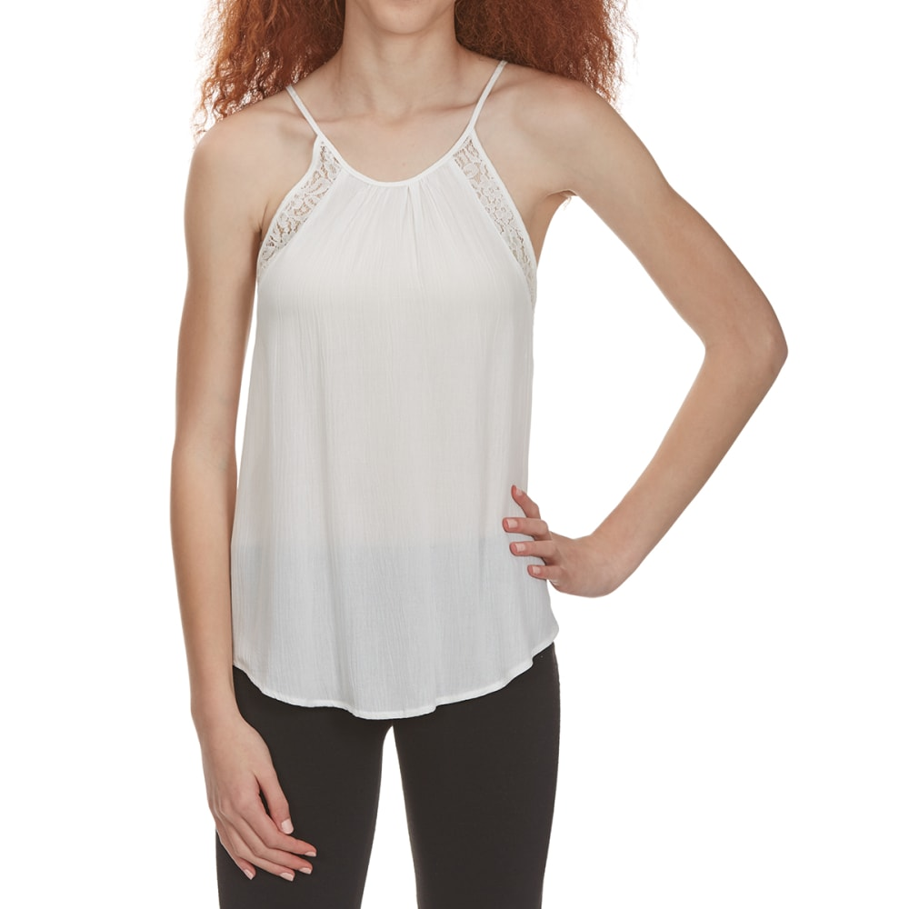 AMBIANCE APPAREL Juniors' Tie-Back Lace-Trim Tank Top - OFFWHITE