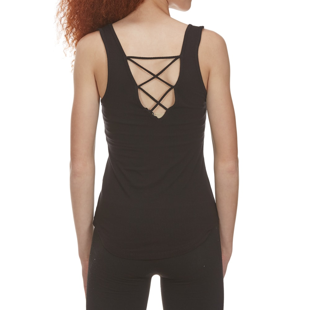 AMBIANCE APPAREL Juniors' Sleeveless Shirttail Top with Lace-Up Back - BLACK