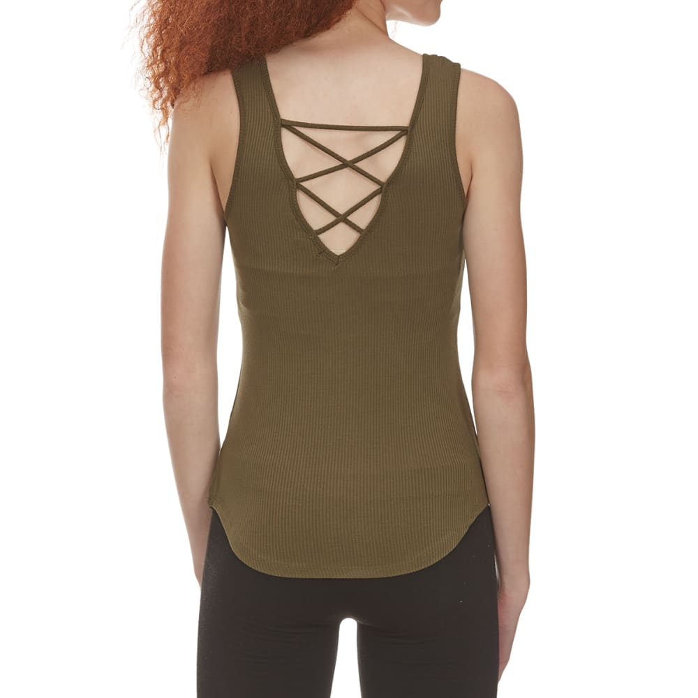 AMBIANCE APPAREL Juniors' Sleeveless Shirttail Top with Lace-Up Back - OLIVE