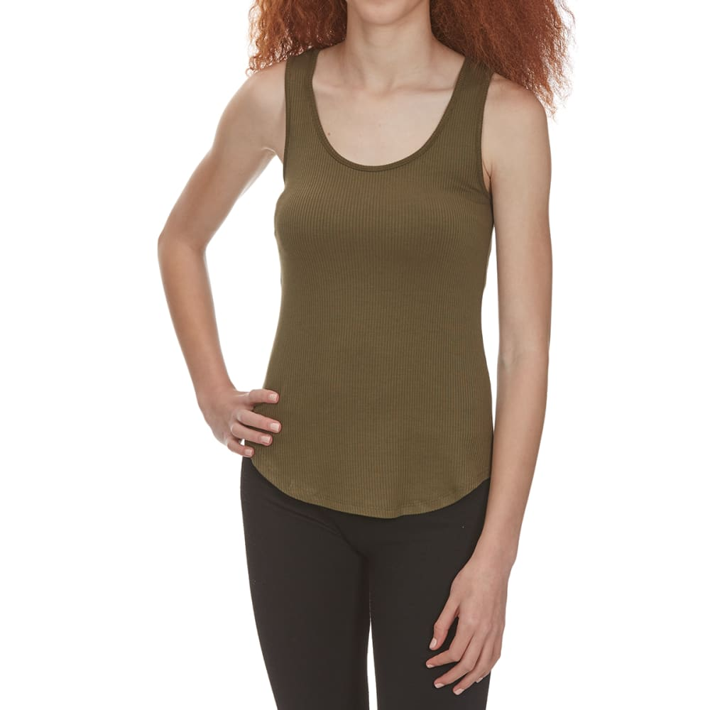 Ambiance Apparel Juniors Sleeveless Shirttail Top With Lace-Up Back - Green, S