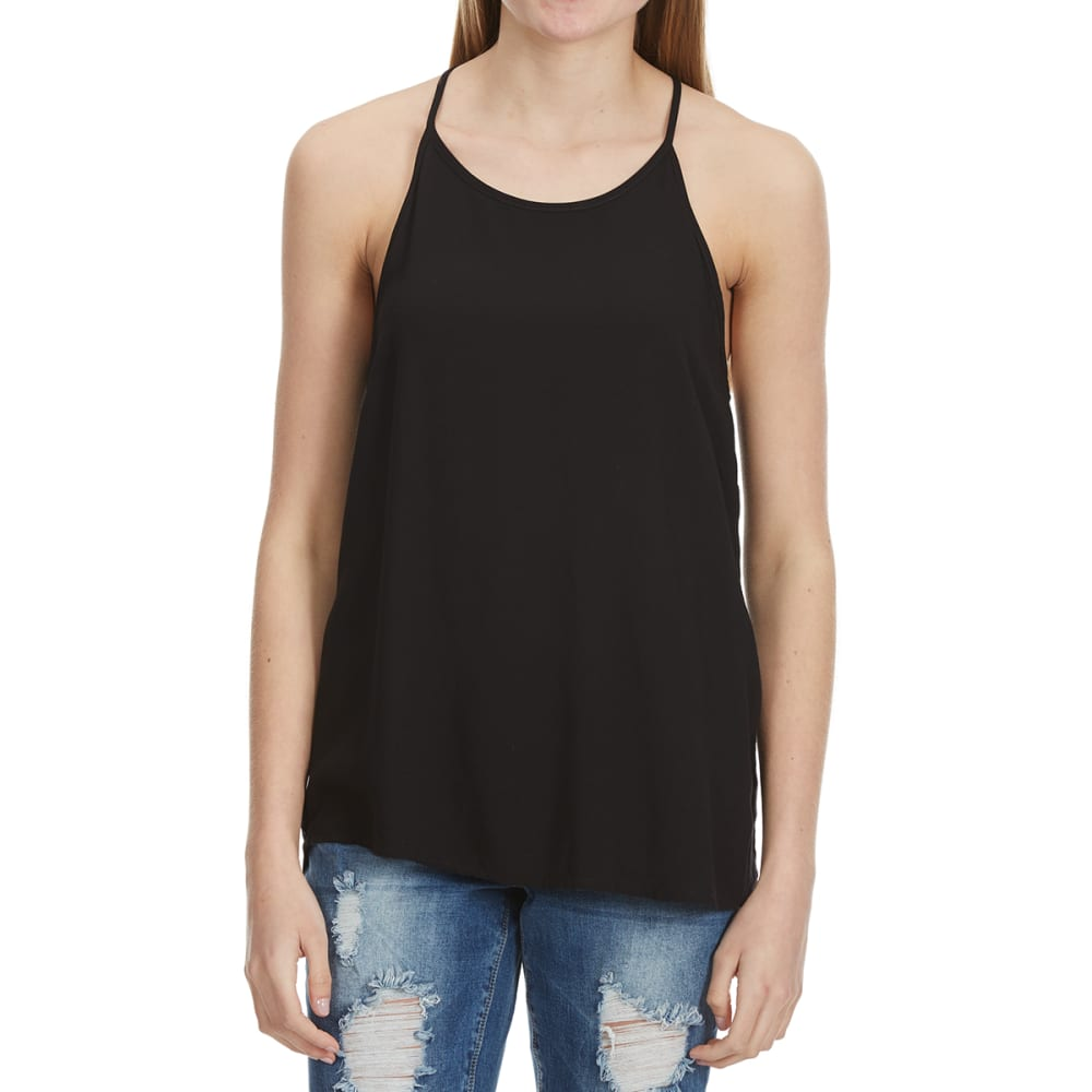 AMBIANCE Juniors' Hi-Neck Keyhole Back Tank - BLACK