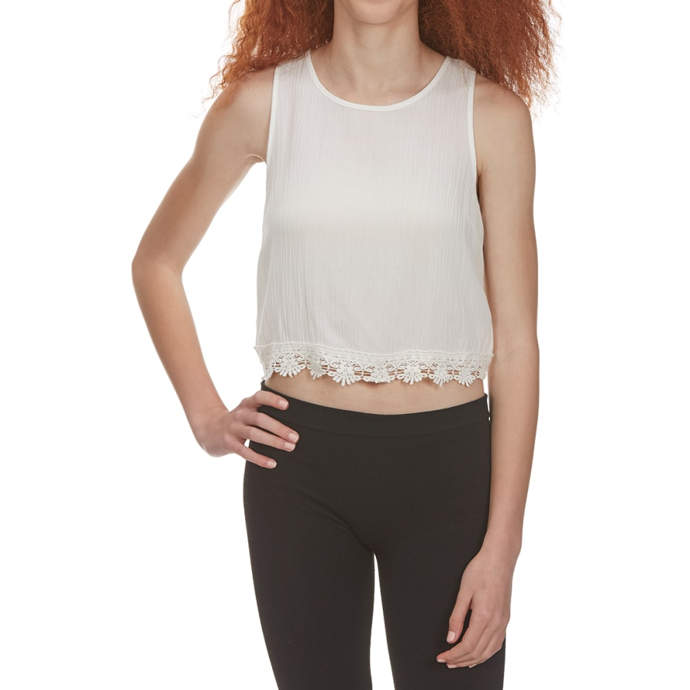 Ambiance Juniors Tulip Back Crop Tank - White, L