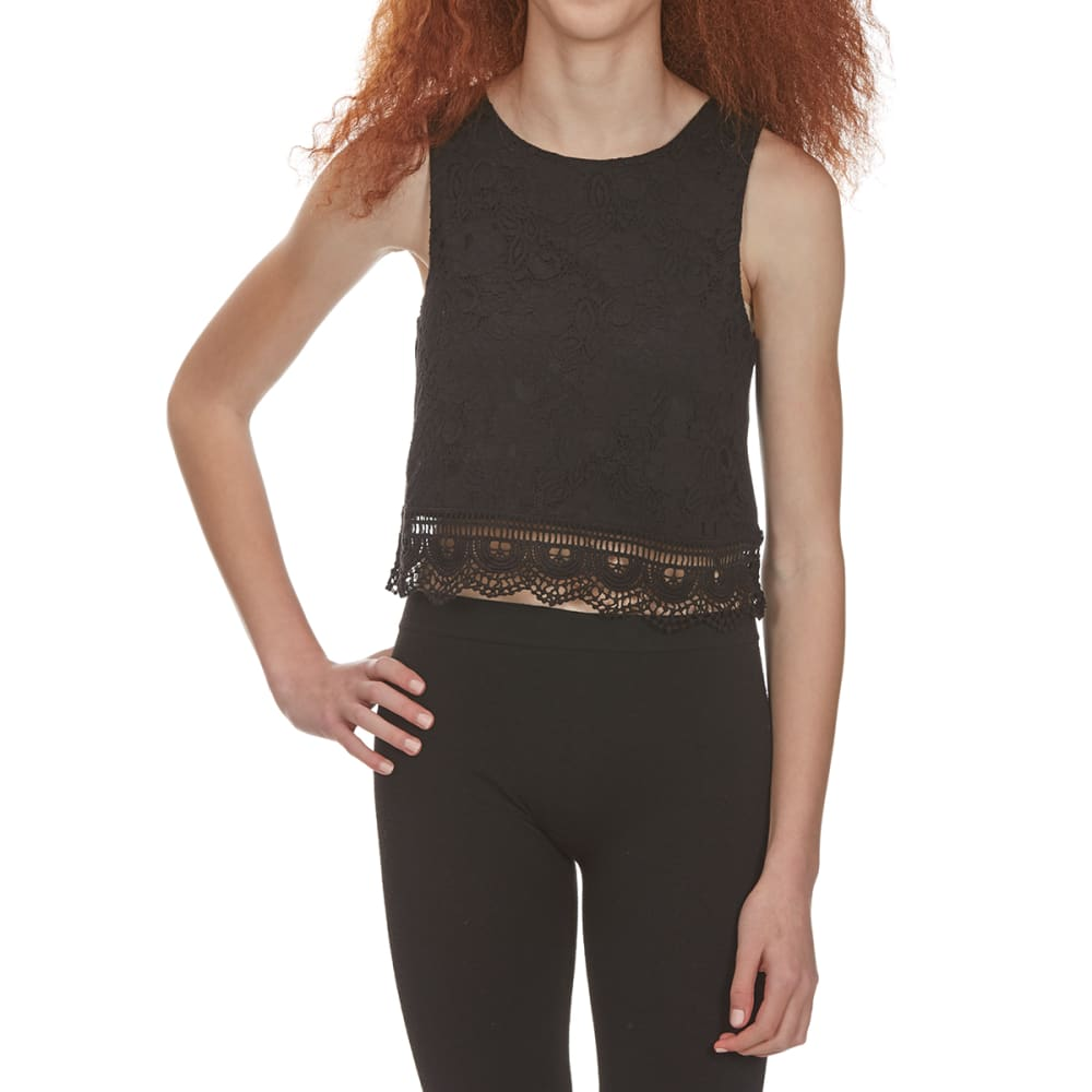 AMBIANCE APPAREL Juniors' Lace Front Tank Top - BLACK