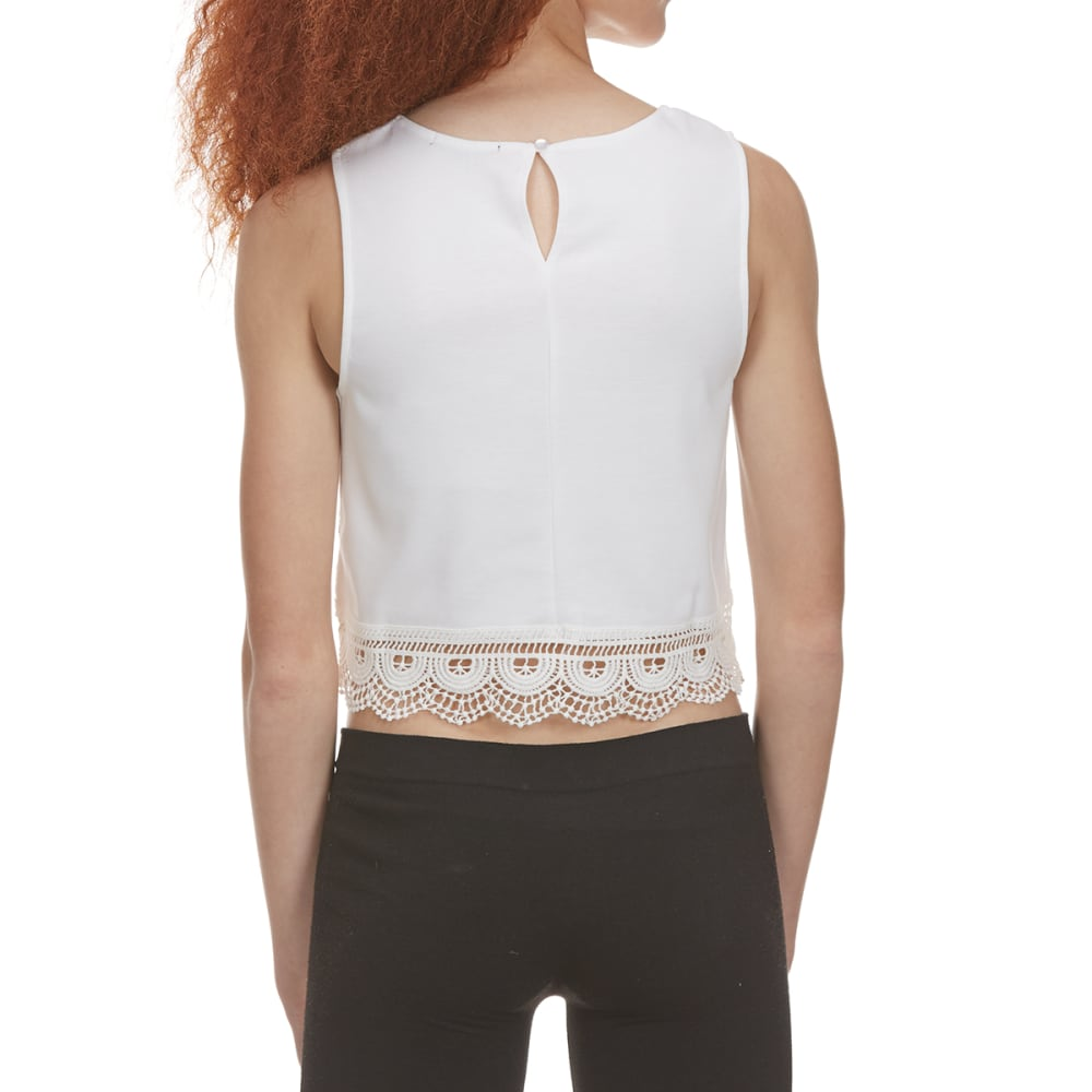 AMBIANCE APPAREL Juniors' Lace Front Tank Top - OFFWHITE