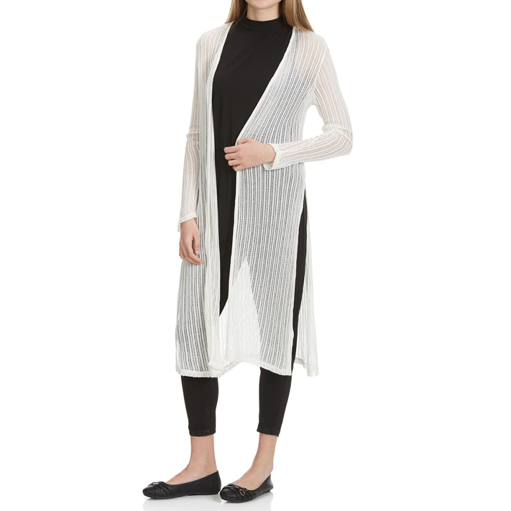 AMBIANCE Juniors' Duster Cardigan - OFFWHITE