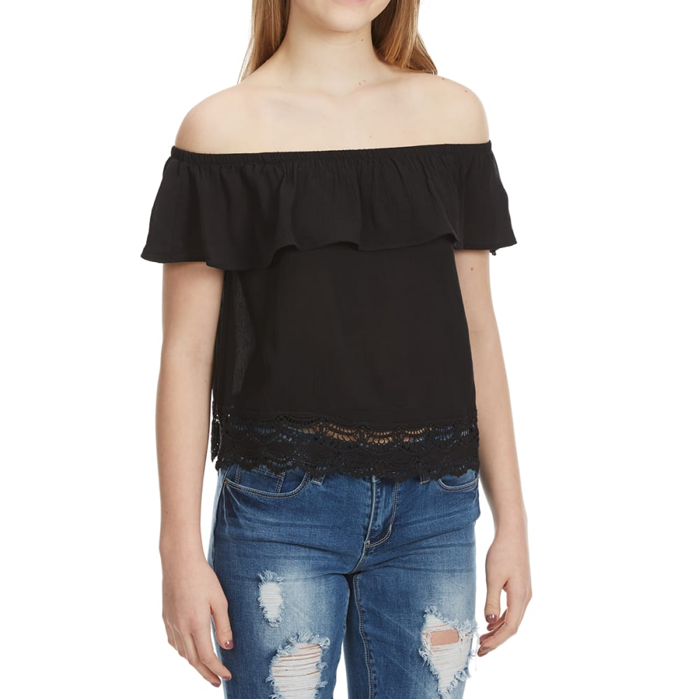 AMBIANCE Juniors' Ruffle Off The Shoulder Top - BLACK
