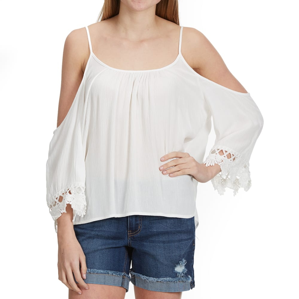 AMBIANCE Juniors' ¾ Sleeve With Crochet Trim Cold Shoulder Shirt - OFFWHITE