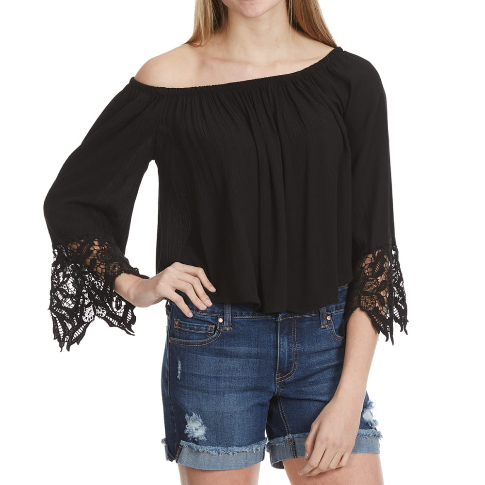 AMBIANCE Juniors' Long Sleeve Lace Off The shoulder Top - BLACK