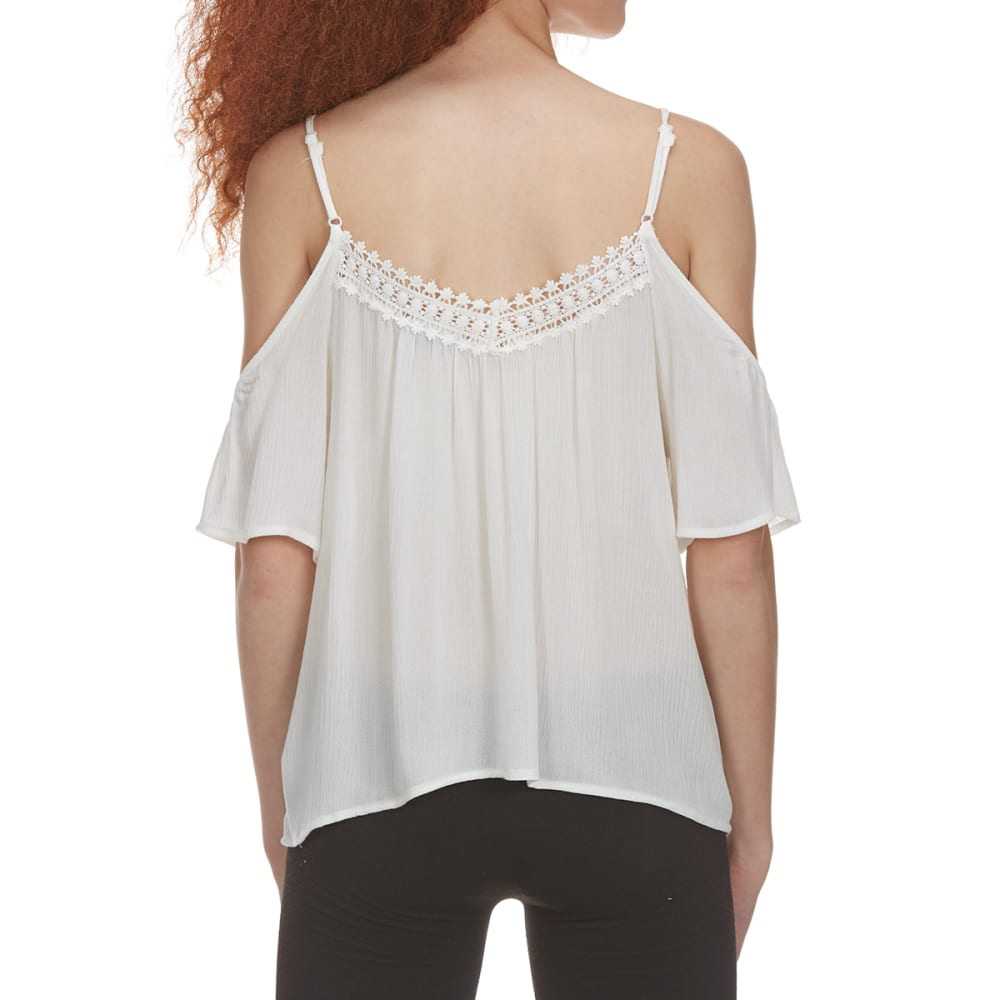 AMBIANCE Juniors' Long Sleeve Lace Off The Shoulder Top - OFFWHITE