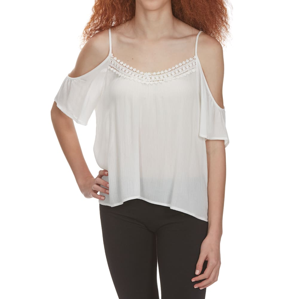 Ambiance Juniors Long Sleeve Lace Off The Shoulder Top - White, S
