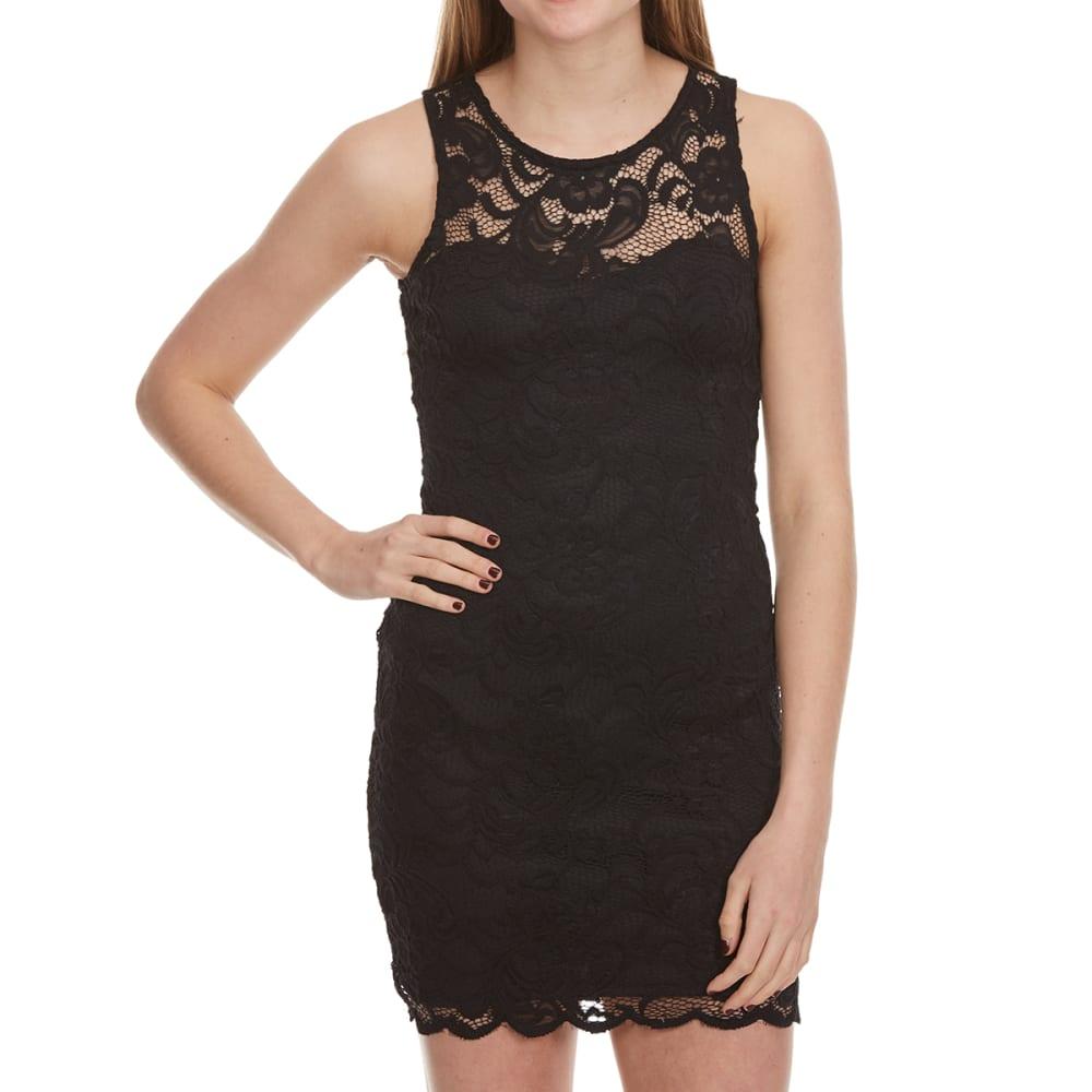 AMBIANCE Juniors' Sleeveless Lace Bodycon Dress - BLACK