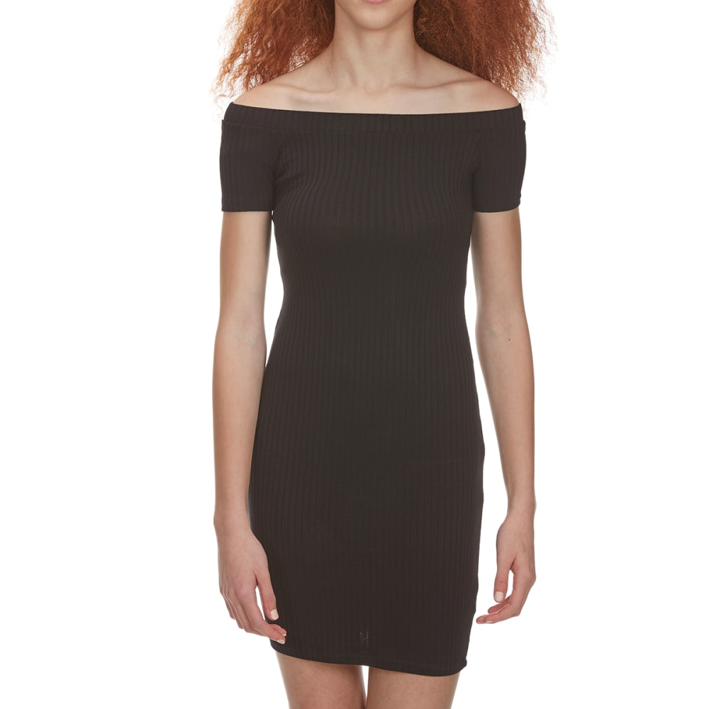 AMBIANCE Juniors' Off The Shoulder Ribbed Bodycon Dress - BLACK