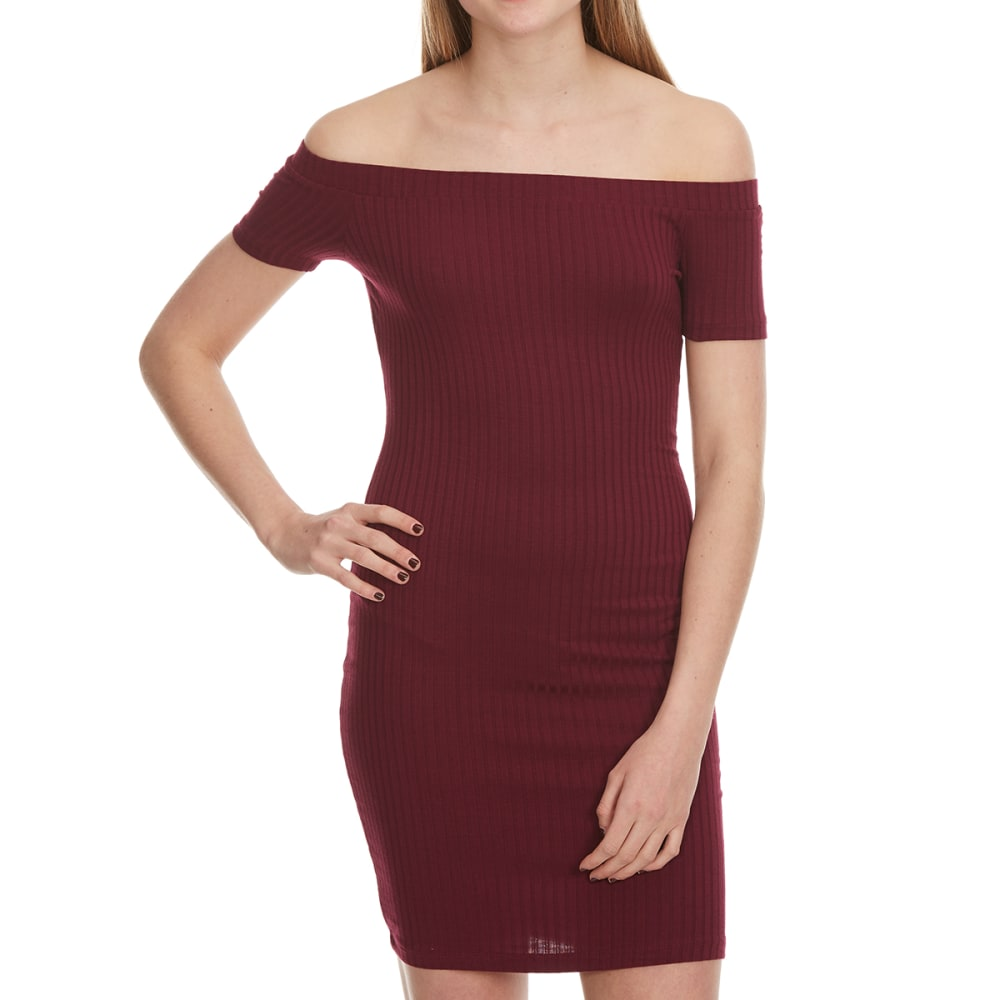 AMBIANCE Juniors' Off The Shoulder Ribbed Bodycon Dress - BURGUNDY